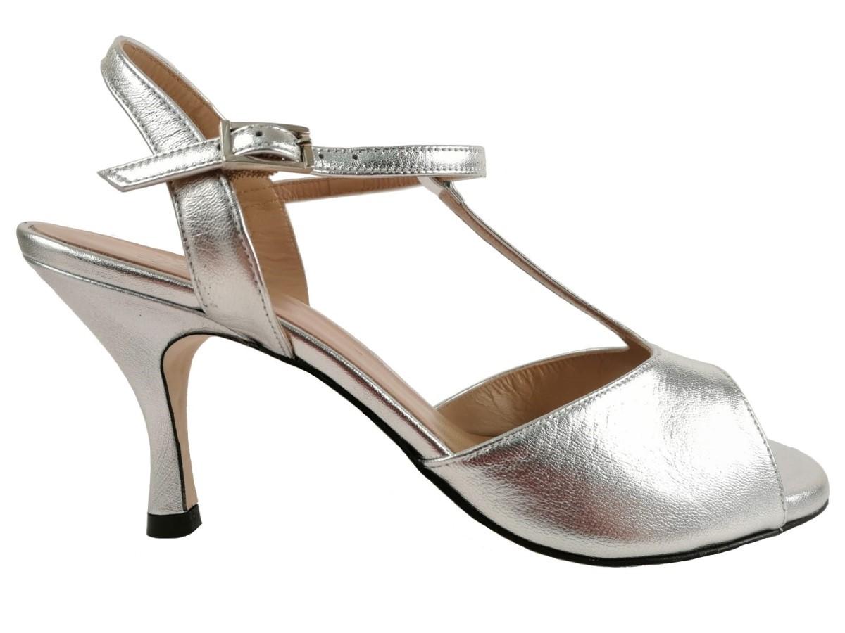 best service cdd15 67308 Scarpe da Tango - Gilda laminato argento Tacco 7